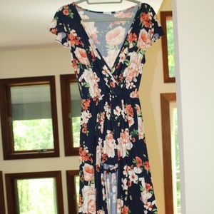 Dresses & Skirts - Floral Maxi Dress with Slit for Shorts